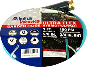 "AlphaWorks Garden Water Hose 5/8"" Inch x 3' Foot Heavy Duty Premium Commercial Ultra Flex Hybrid Polymer Lead-in Hose Max Pressure 150 PSI/10 BAR with 3/4"" GHT Fittings"