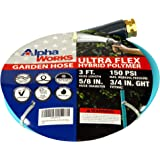 "AlphaWorks Garden Water Hose 5/8"" Inch x 3' Foot Heavy Duty Premium Commercial Ultra Flex Hybrid Polymer Lead-in Hose Max Pre"