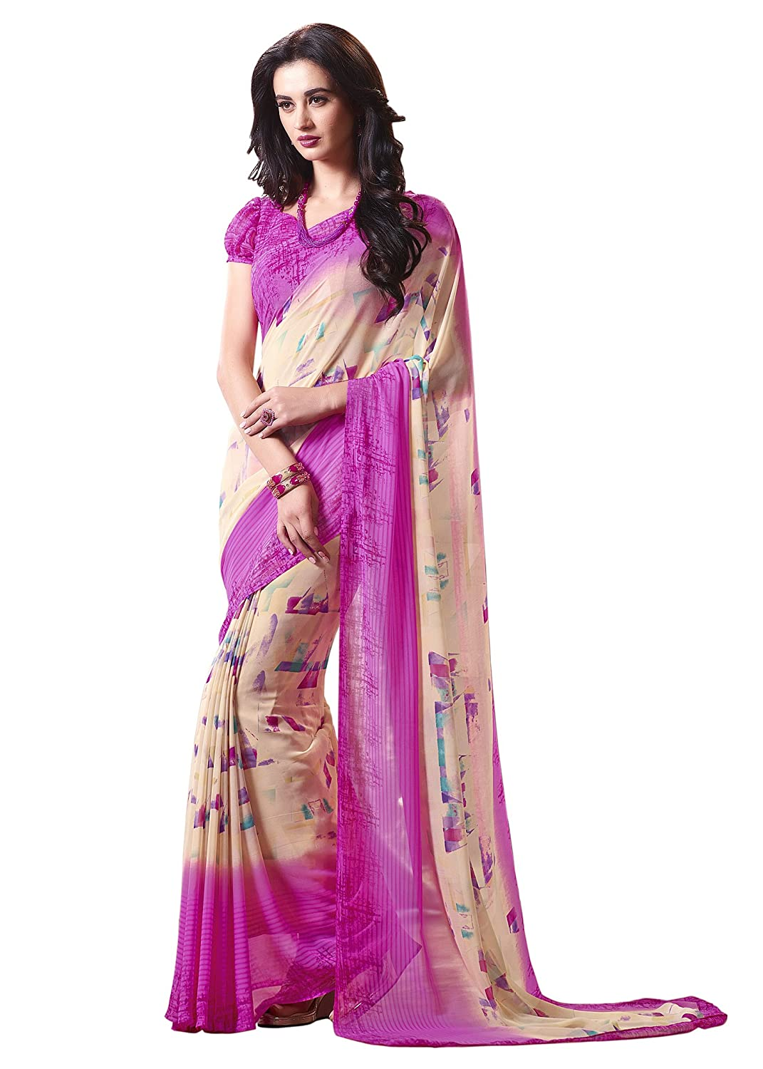 fa31c02549 Amazon.com: Jaanvi fashion Women's Georgette Printed Saree (Blue): Clothing