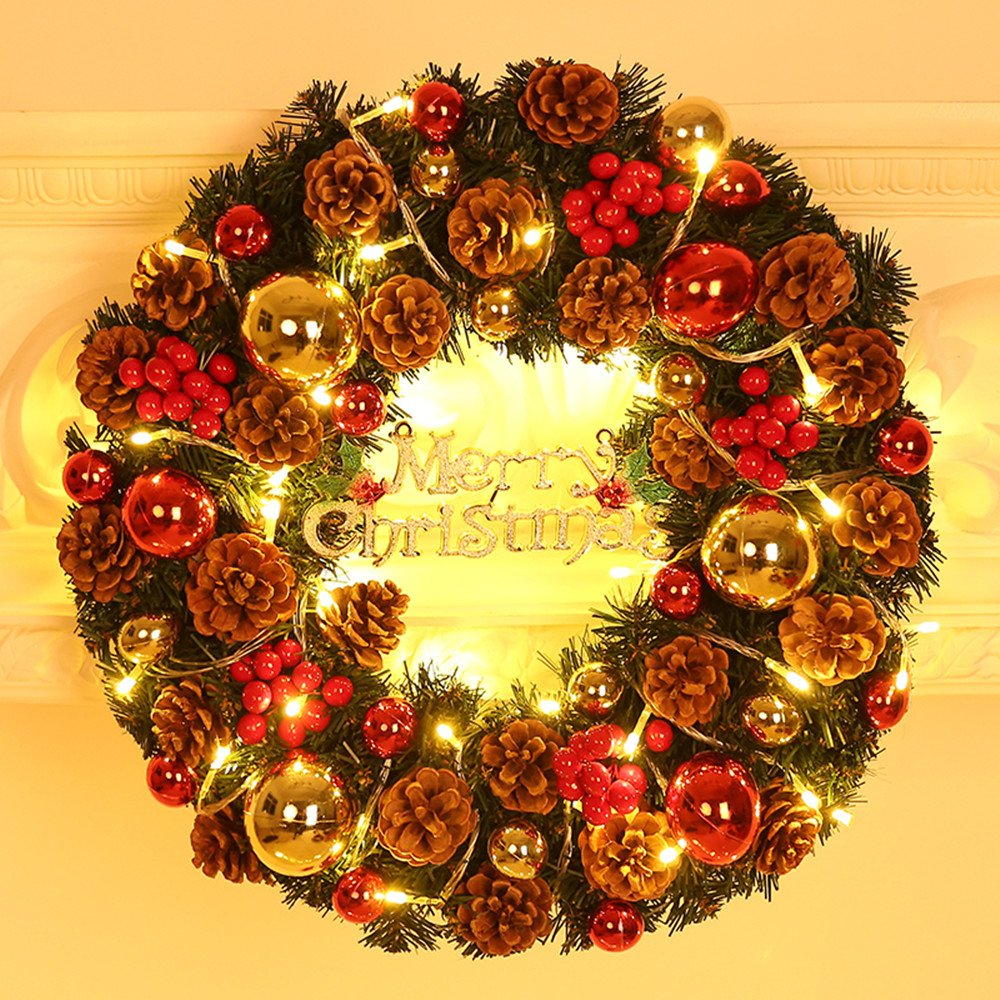 Moylor 12 Christmas Wreath Decorated Front Door Wreath Red Berries, Pine Cones Battery Operated LED Lights Christmas Party Decor, Door Wall Decor