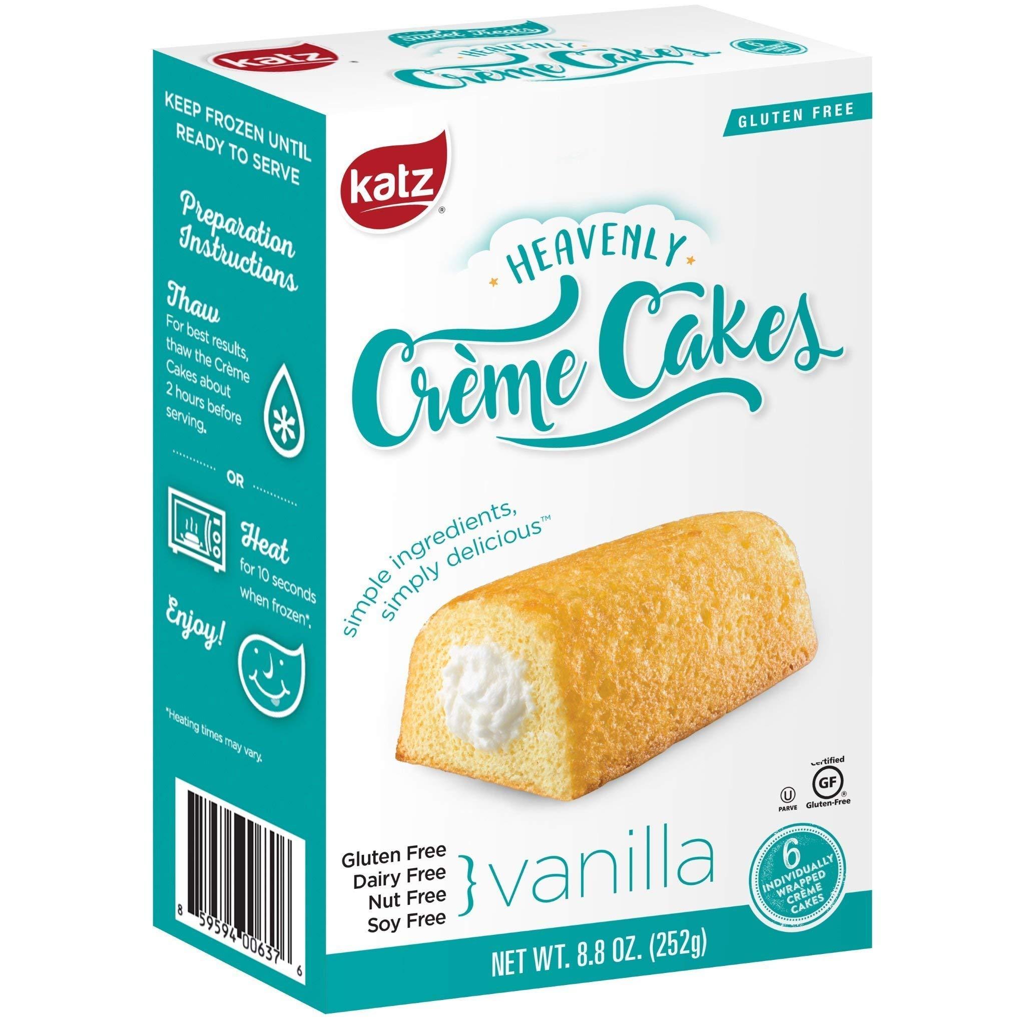Katz Gluten Free Vanilla Crème Cakes | Dairy, Nut, Soy and Gluten Free | Kosher (3 Packs of 6 Crème Cakes, 8.8 Ounce Each) by Katz Gluten Free