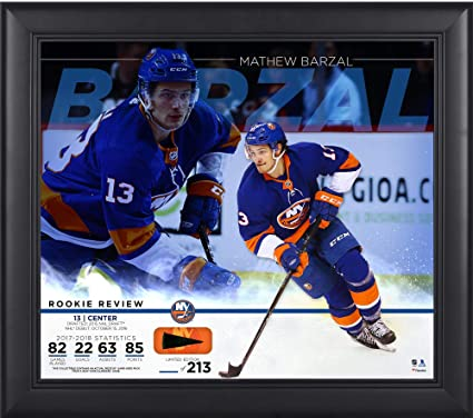 Mathew Barzal New York Islanders Framed 15 quot  x 17 quot  Rookie Review  Collage with Piece da31d090f