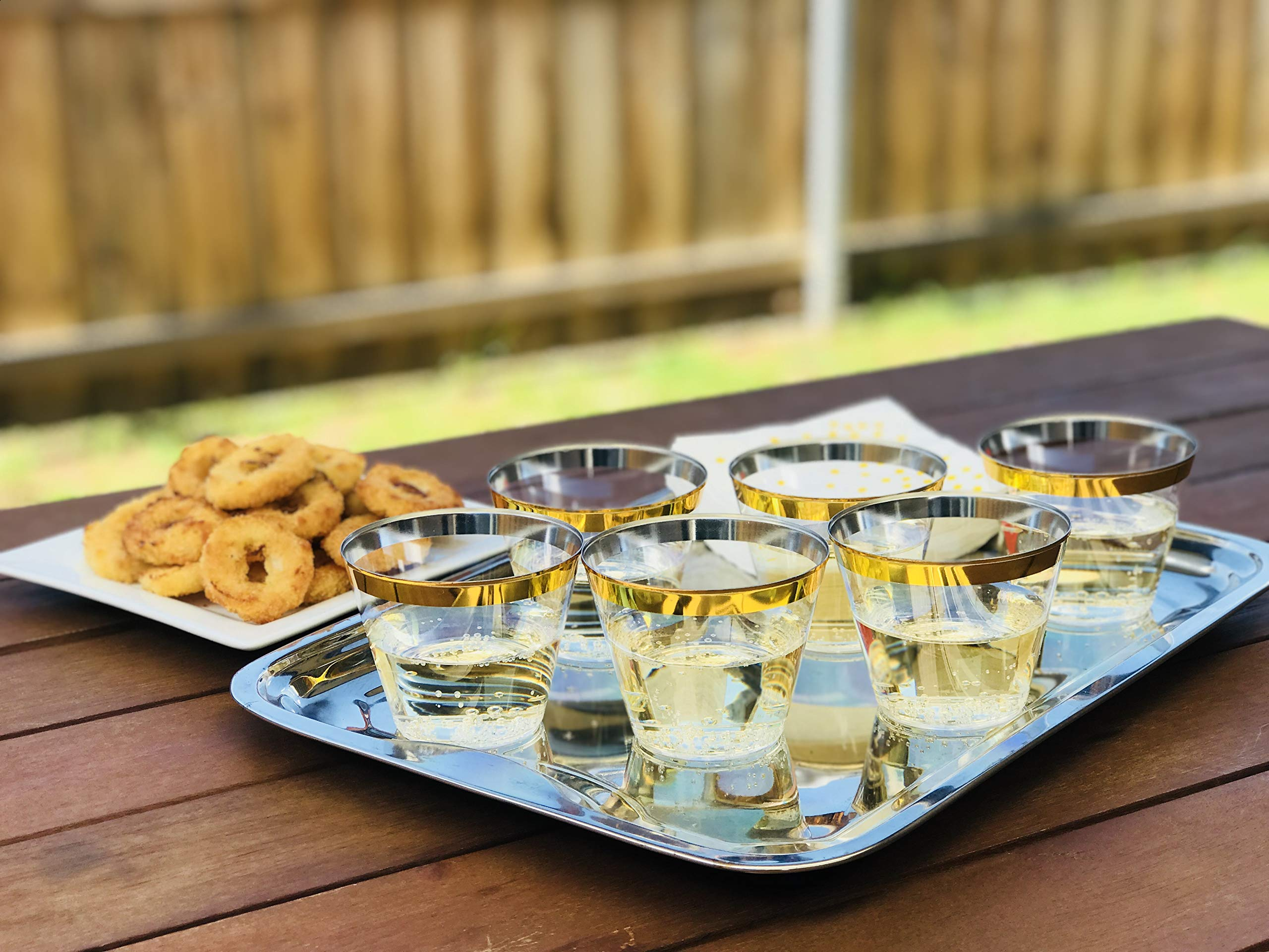 Premium 100 Gold Rimmed 9 oz Clear Plastic Cups + Free 100 Napkins ~ Perfect for Wedding/Engagement/ Cocktails/Dinner/Wine/Birthday Parties ~ Great Value Party Pack 100 Gold Rim Cups + 100 Napkins by Premium Party Supplies (Image #2)