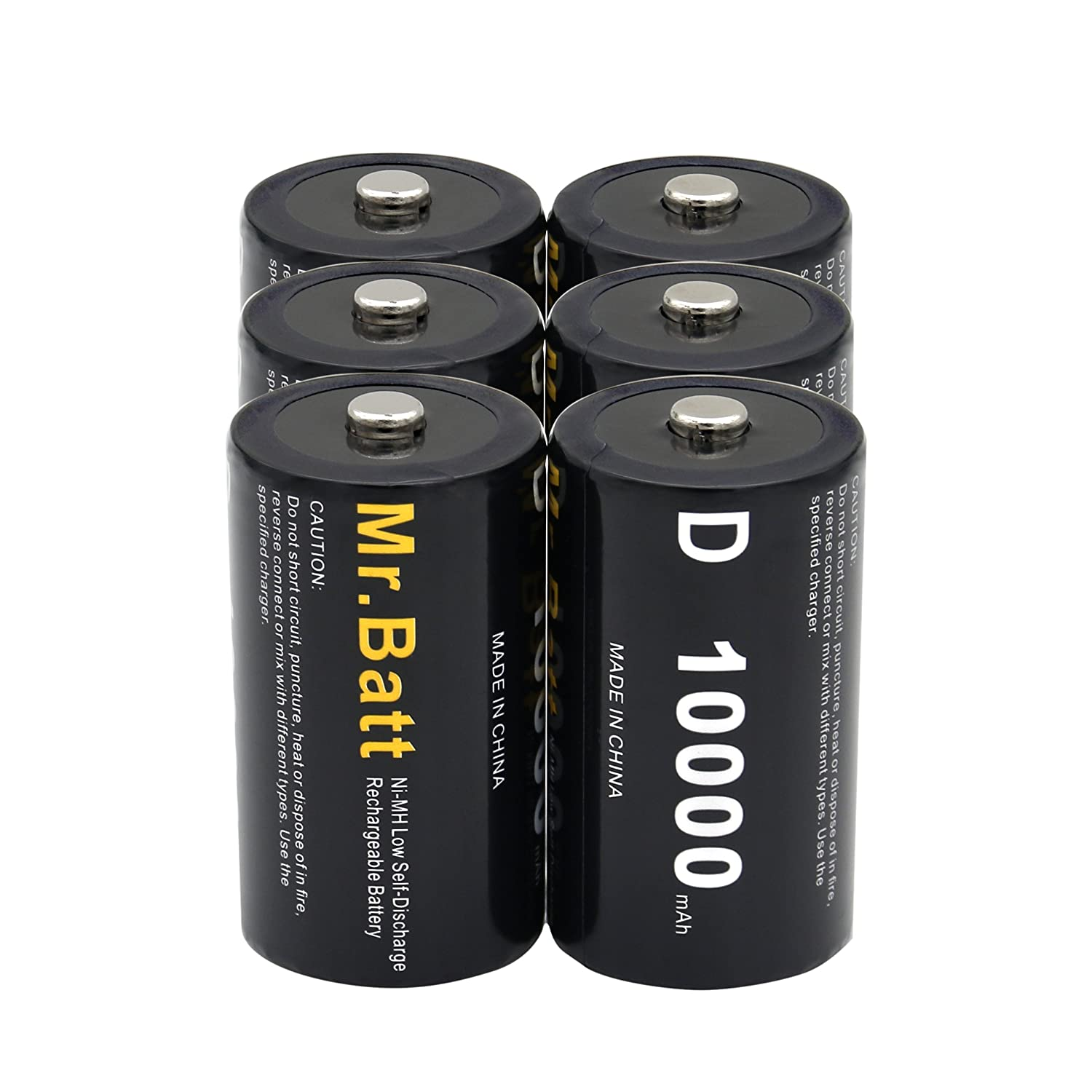 D Batteries Rechargeable (Pack of 6) NiMh D Cell 1.2V 10000mAh Mr.Batt 4336300111