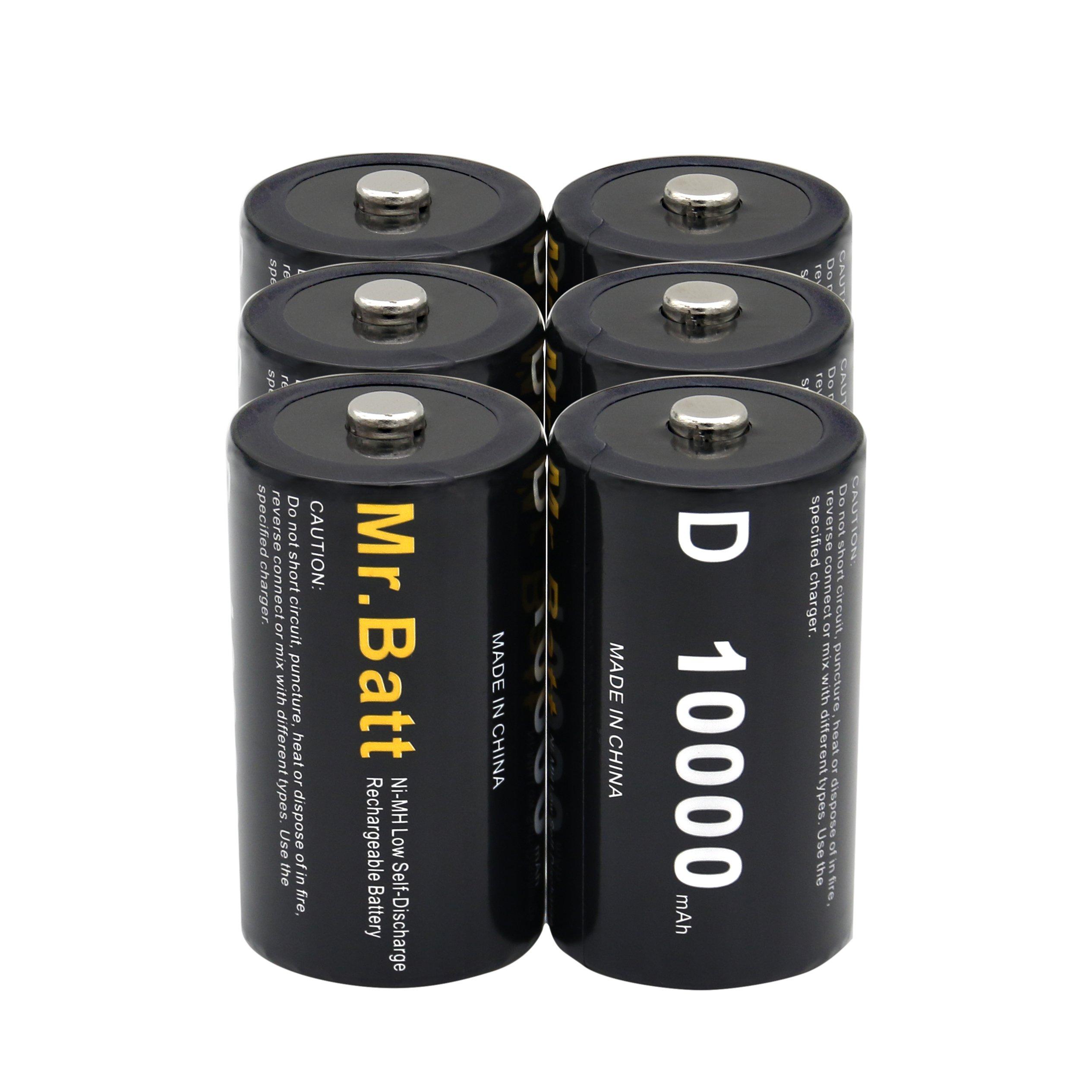 Mr.Batt NiMH Rechargeable D Batteries Low Self Discharge, 10000mAh (6 Pack)