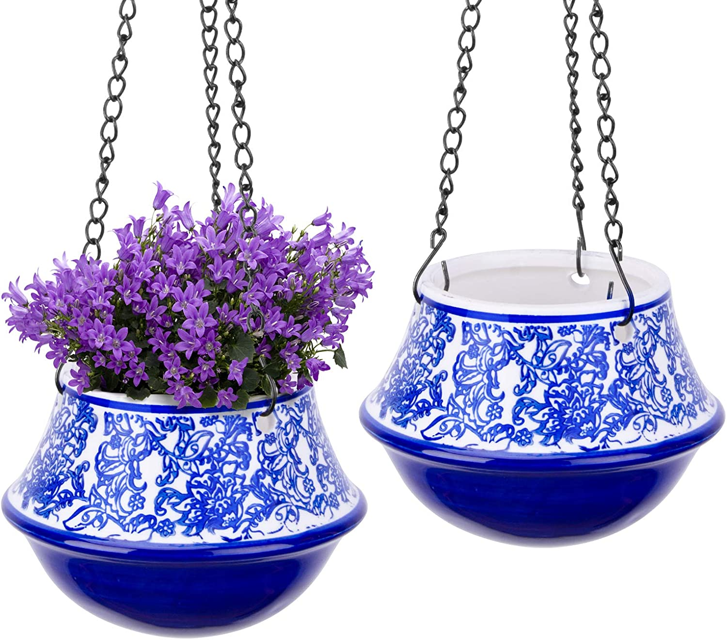 UERMEI Ceramic Hanging Planters Indoor - Blue and White Floral Hanging Pots for Succulents Herbs Ferns Small Plants | Retro Home Decor | Exotic Hanging Plants Pots for Gardening (2 Pack)