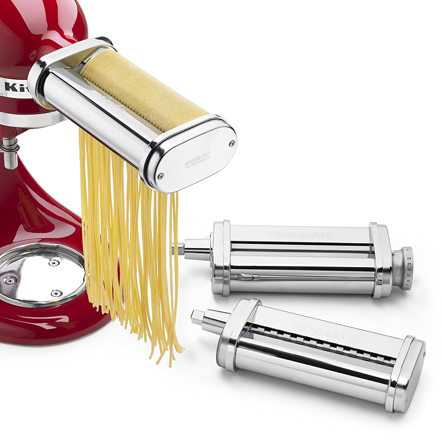 KitchenAid KSMPRA 3 Piece Pasta Roller & Cutter Attachment Set, Silver