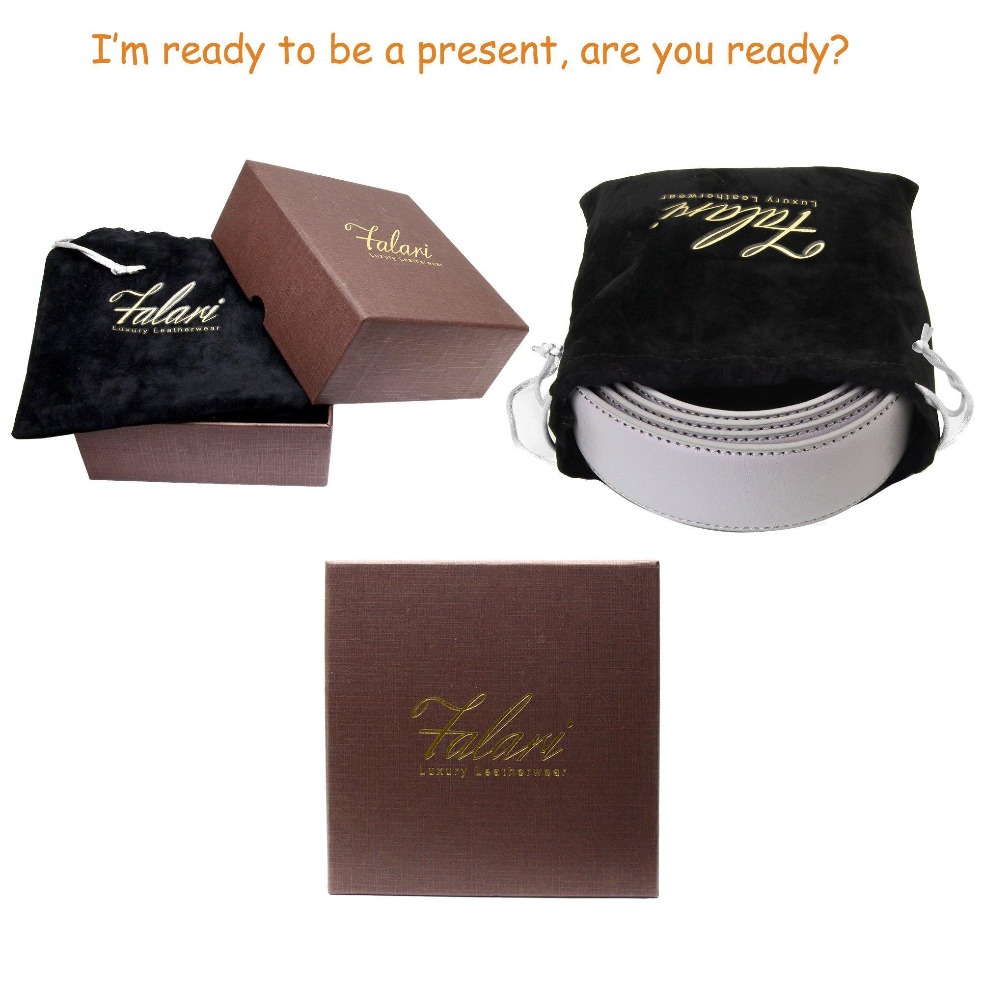 Falari Men's Leather Ratchet Belt Strap 8004-LGY-L40 by Falari (Image #6)