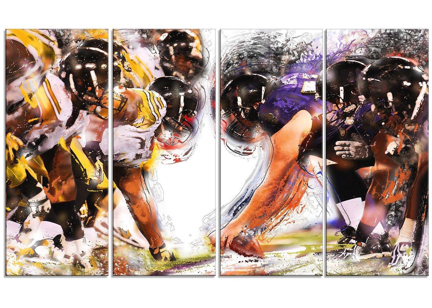 Digital art PT2548-32-16 Football Hut - Large Sport Canvas Art Print 32x16