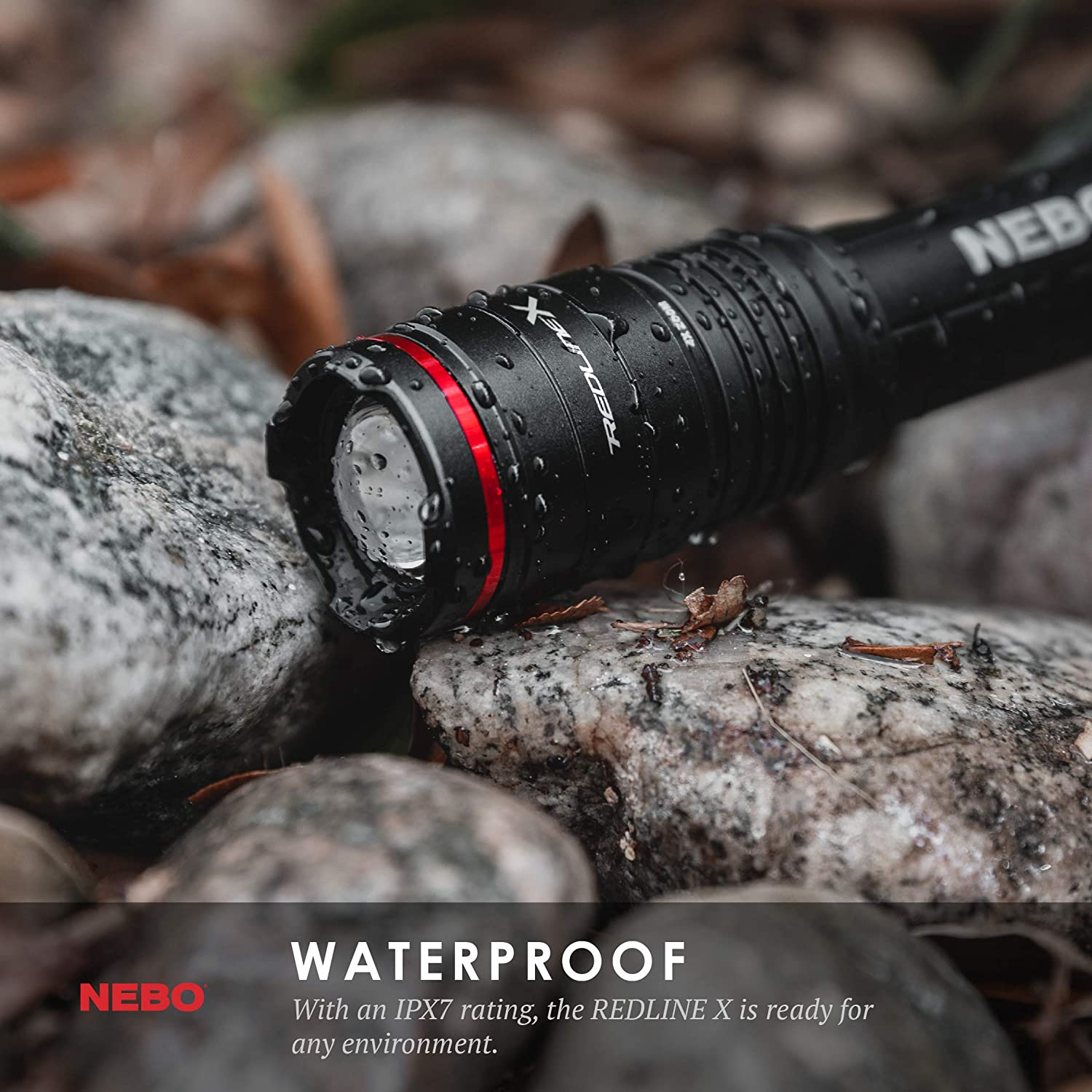 1800 lumen 4x zoom NEBO Redline-X Rechargeable Waterproof Flashlight Switch-X technology; patented paddle switching mechanism to operate the power mode and instant activation for TURBO and Strobe