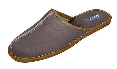 Natural Line Zapatillas de estar Por casa de Lana Para Hombre Beige Beige, Color Beige, Talla 43,5