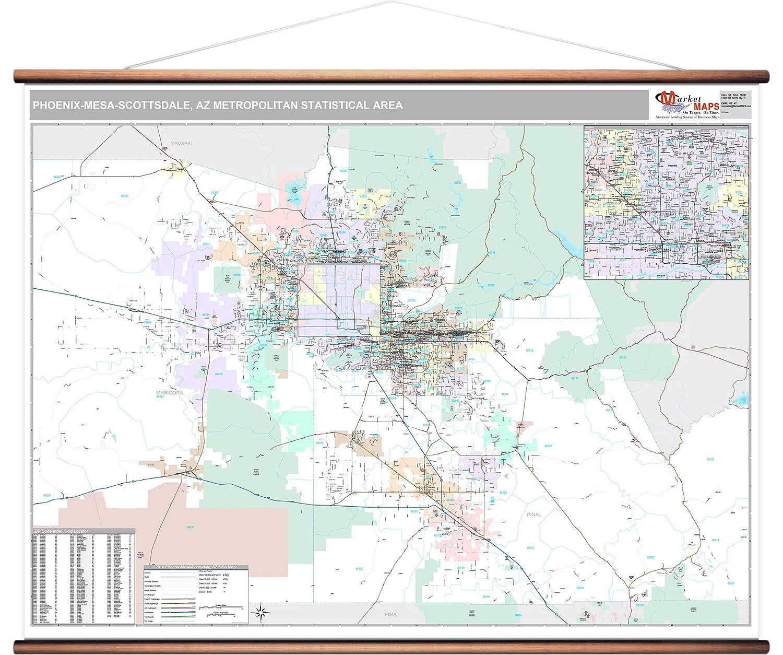 Pinal County Zip Code Map.Amazon Com Marketmaps Phoenix Mesa Scottsdale Az Metro Area Wall