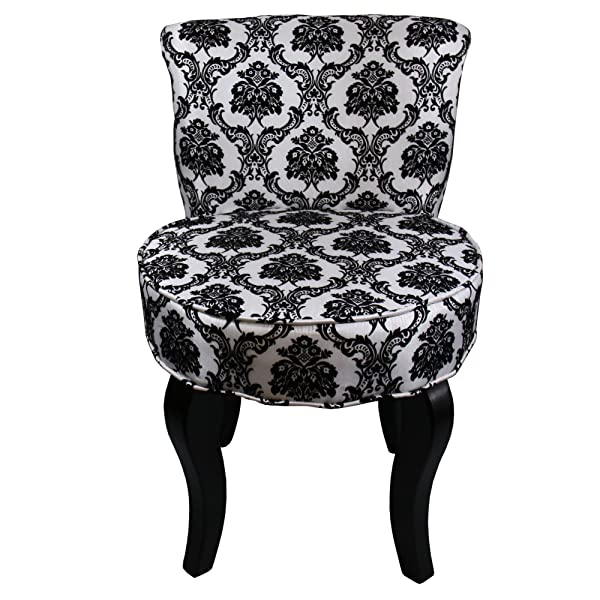 ORE International HB4284 31-Inchfrench Damask Armless Accent Chair, Black/White, 31""