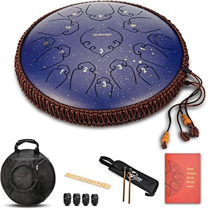 BSOA Steel Tongue Drum 15 Notes 14 Inch Asmuse Pan Drum Percussion Instrument with Mallets and Bracket Tonic Sticker Travel Bag