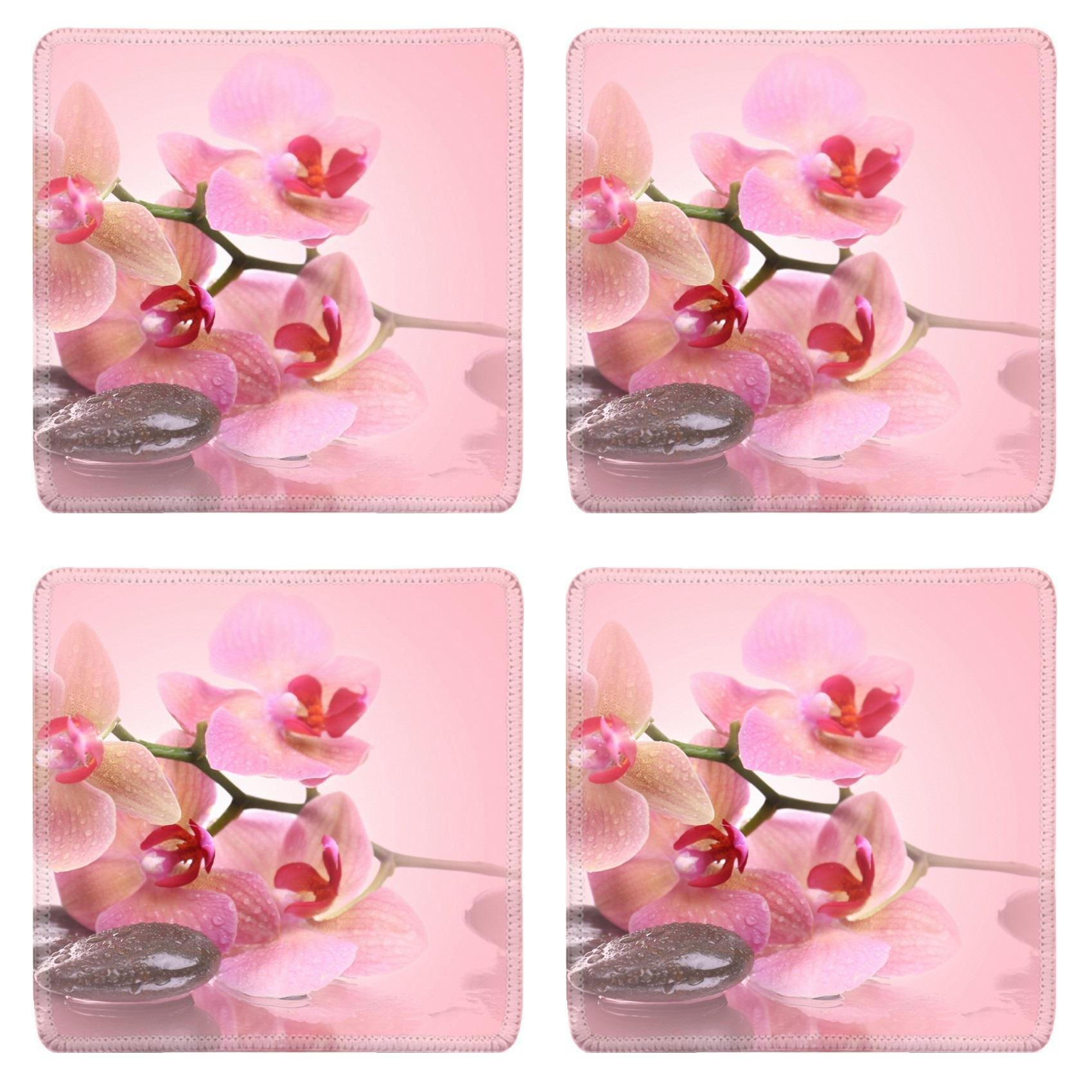 MSD Square Coasters Non-Slip Natural Rubber Desk Coasters design 36276854 Beautiful blooming orchid with spa stones on pink background