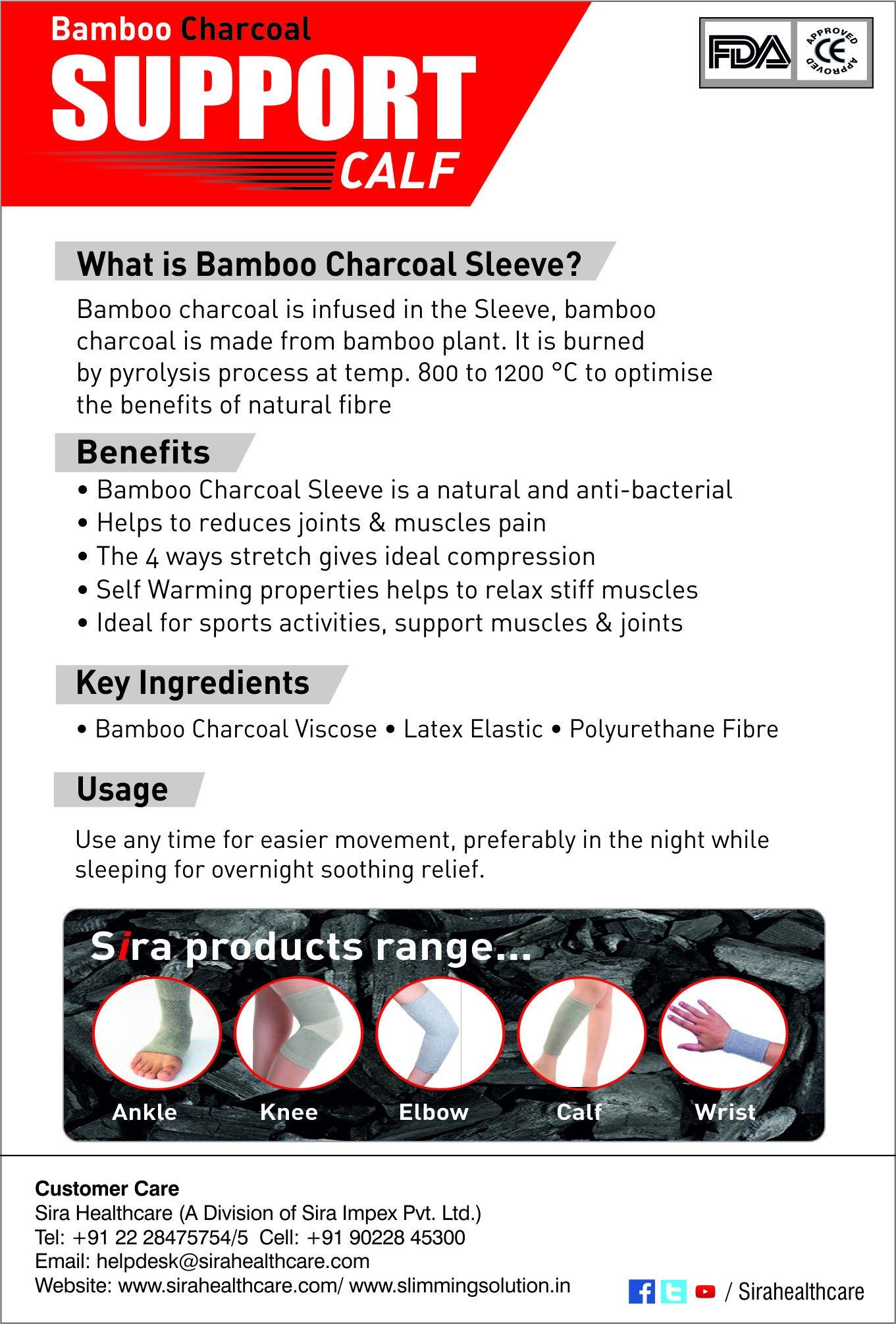 Sira Bamboo Charcoal Calf Sleeve,Outdoor Sports, Protector,Running,Calf Guard Shin Splints Sleeves,Great for Running,Baseball,Walking,Cycling,Training,Travel- Boosts Circulation - Aids Faster Recovery
