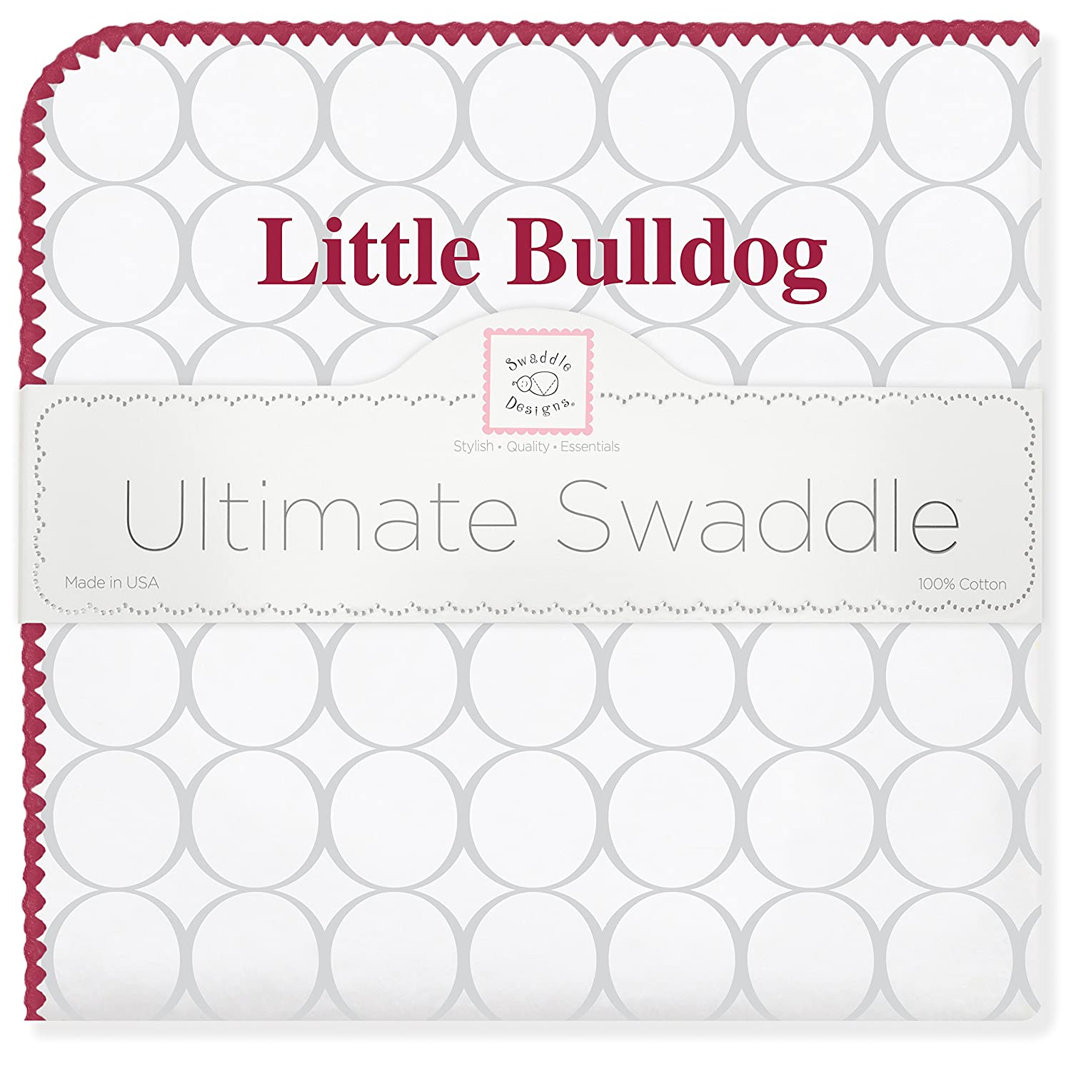 SwaddleDesigns Ultimate Winter Swaddle, X-Large Receiving Blanket, Made in USA, Premium Cotton Flannel, Mississippi State University, Little Bulldog (Mom's Choice Award Winner)