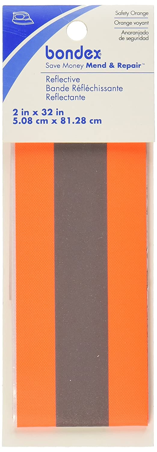 Wrights 240 500-2265 Sewing Bondex Iron-On Florescent Reflective Tape 2-Inch X 32-Inch-Orange 100400
