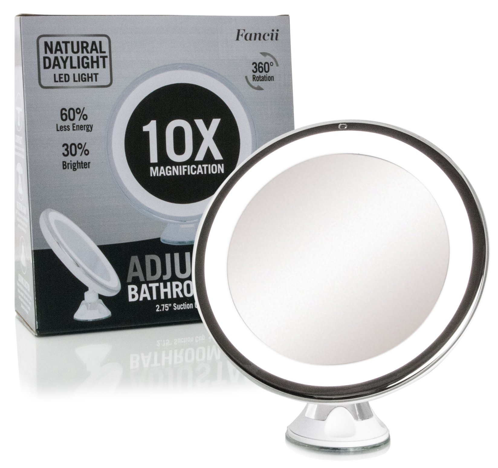 Daylight Led 10X Magnifying Makeup Mirror - Lighted Travel Vanity ...