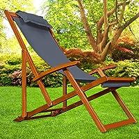 Deck Chair Sun Lounger Beach Chair Garden Lounger Recliner Chair Wood 94X94X60 cm, charcoal