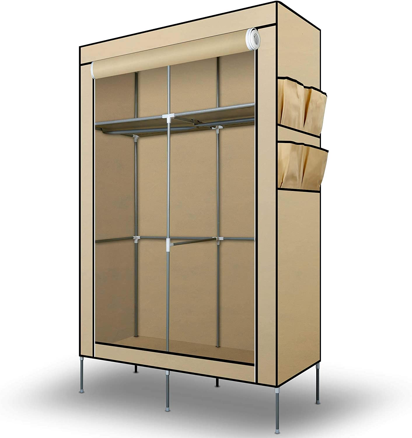Intirilife Fabric Wardrobe 108x45x170 cm in CREAM – Lockable Canvas Folding Closet with Side Pockets, Zipper and Hanging Rail – Foldable Non-Woven Textile Storage