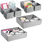 mDesign Soft Fabric Dresser Drawer and Closet Storage Organizer Set for Child/Kids Room, Nursery - Includes Large and Small Organizers - Chevron Zig-Zag Print, Set of 8 - Gray/Cream