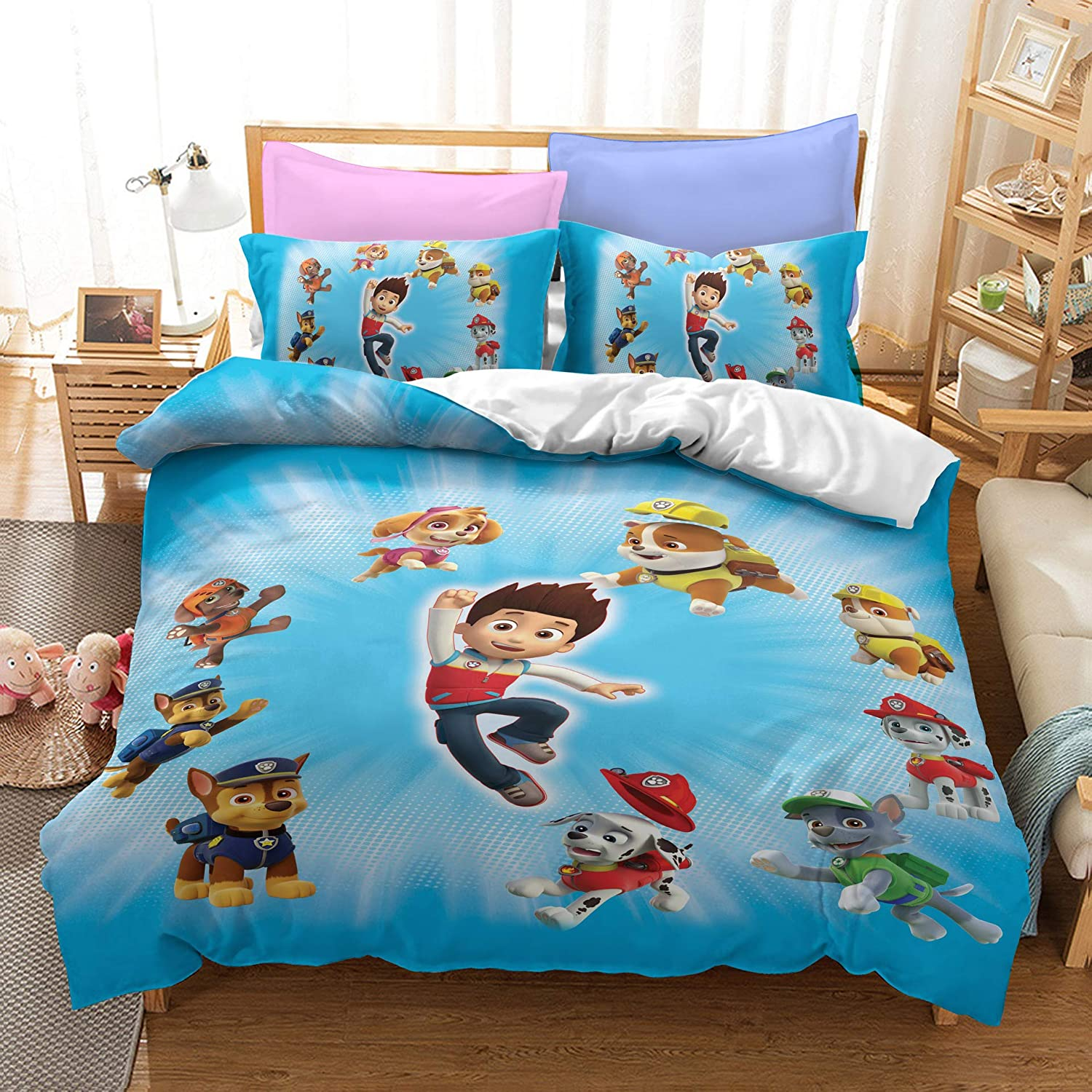Butalways Kids Bedding Duvet Cover Set PAW Patrol Cartoon for Boys Girls Teens 3D Dogs Bed Set 100% Cotton 3PCS Twin Full Queen King Home Bedroon Decor