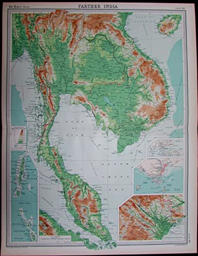 Map Of Asia Gulf Of Tonkin.Amazon Com Farther India Siam Thailand Burma Vietnam Asia C 1925