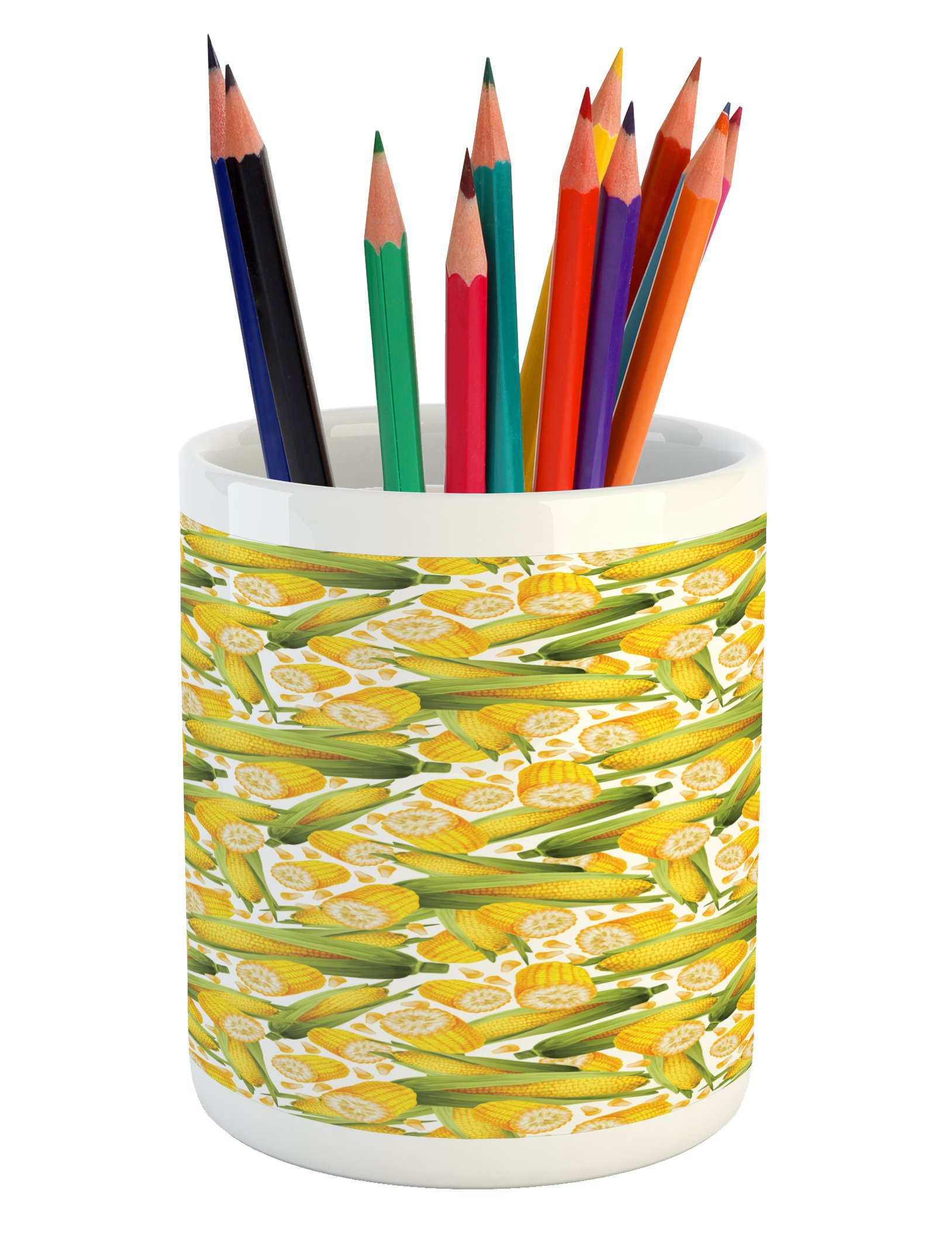 Ambesonne Corn Pencil Pen Holder, Vegetable Organic Food Realistic Illustration Yellow Corn Stalks Agriculture, Printed Ceramic Pencil Pen Holder for Desk Office Accessory, Yellow Green White