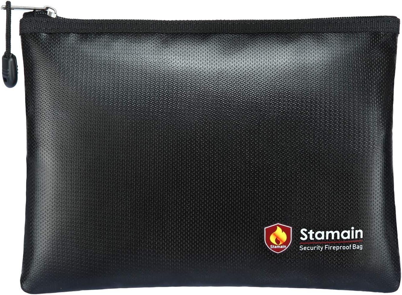 "Fireproof Safe Fireproof Document Bag Money Bag, Stamain Large Fireproof Bag(13.4""x 9.8"") with Zipper, Fire and Water Resistant Fire Safe Bag Home Safe for Money, Document, File, Valuables(Black)"
