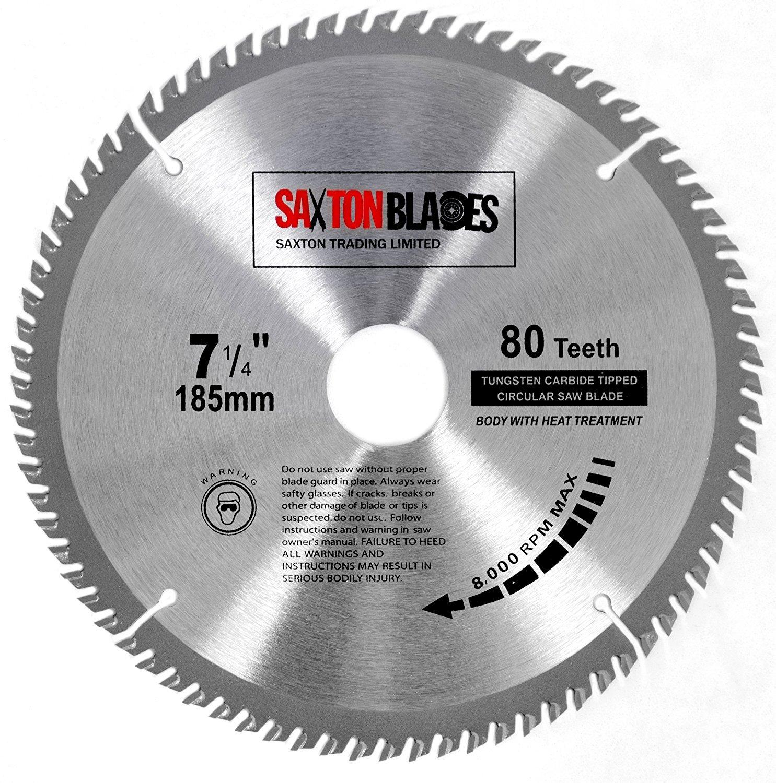 80 dientes Saxton TCT Hoja de sierra circular para cortar madera compatible con sierras Evolution Rage 185/mm incluye anillo de reducci/ón de 25,4/mm