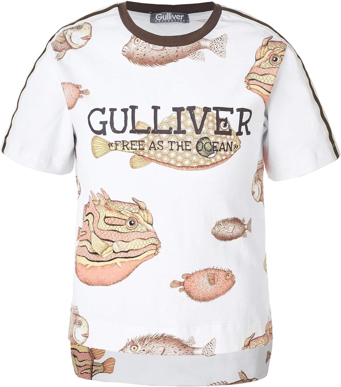 GULLIVER T-shirt da bambino bianco arancione con stampa girocollo a maniche corte 2 7 anni 98 128 cm