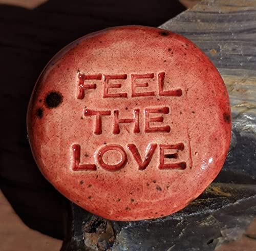 Scarlet Red Art Glaze Inspirational Art Piece by Inner Art Peace LOVE YOU MORE Pocket Stone