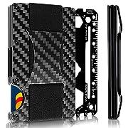 "Hemelian Minimalist Carbon Fiber Slim Wallet | RFID Blocking Front Pocket Wallet | Carbon Fiber Money Clip | Carbon Wallet | Credit Card Holder for Men | Metal Wallet| The Money Clip"" | 2018 Version"