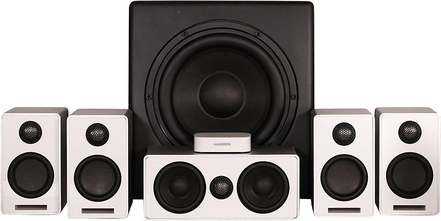 ONEaudio ONEmini-5.1-W Wireless Surround 5.1 Channel Home Theater Speaker System Silver White