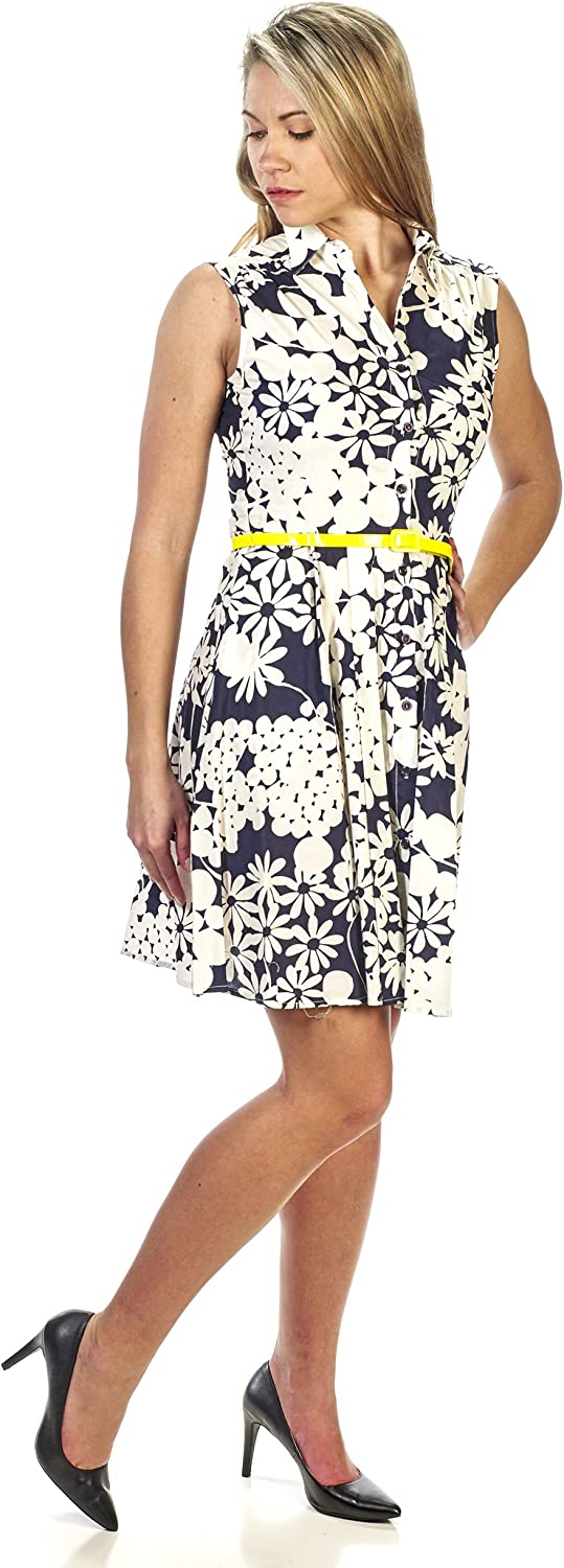 Julian Taylor Womens Belted Floral Dress with Stripe Bottom