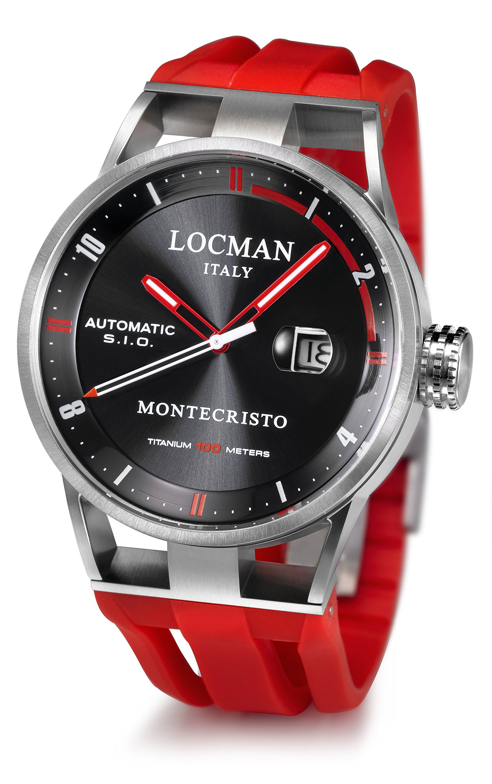 Locman Italy Men's 'Montecristo Classic Auto' Automatic Stainless Steel and Rubber Diving Watch, Color:Red (Model: 051100BKFRD0GOR)