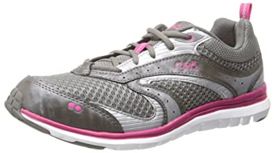 RYKA Women's Cloud Walking Shoe,Metallic Steel Grey/Zuma Pink/Chrome Silver,