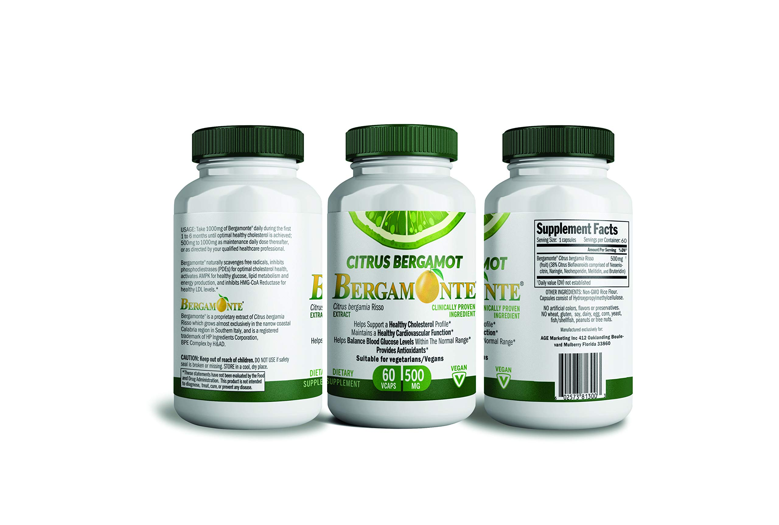 Citrus Bergamot, Cholesterol lowering Support, Bergamonte Supplement with Clinical Studies for Cholesterol Cardiovascular Blood Sugar and Weight Loss 60 Vegetarian Capsules 500MG Each Polyphenolic 22
