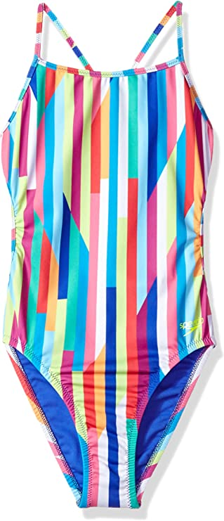 Speedo Girls Swimsuit One Piece Thick Strap Racer Back Printed-Discontinued