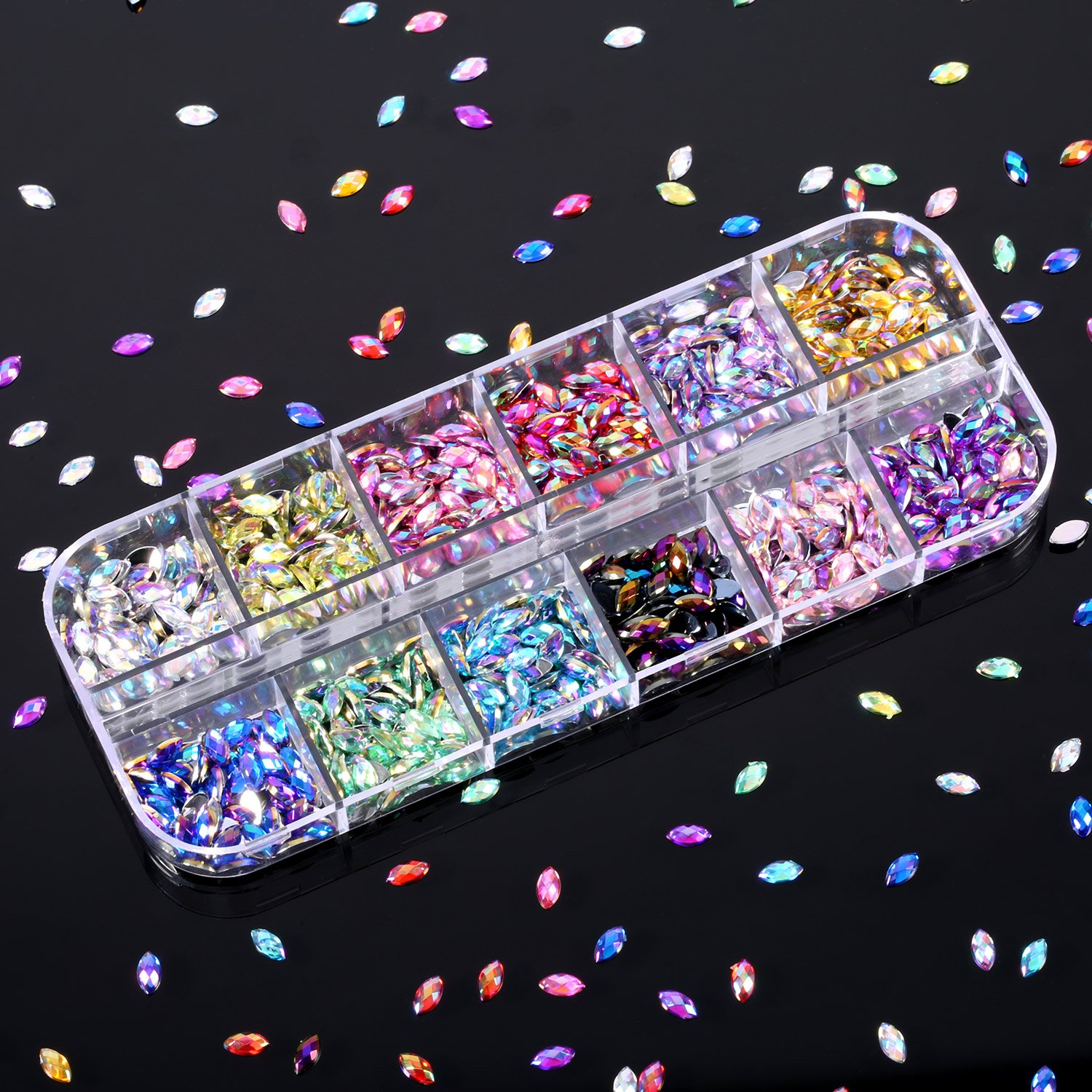 Bememo 4300 Pieces (4 Boxes) Nail Art Rhinestones Kit Nail Rhinestones with 1 Piece 1 Pick up Tweezers, Multicolor Nail Studs Horse Eye Rhinestones for Nail Art Decorations Supplies by Bememo (Image #3)