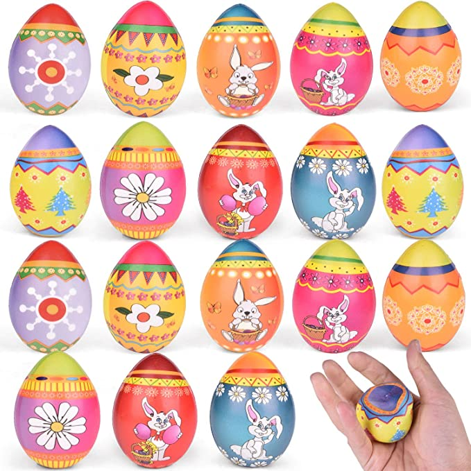 Amazon Com Fun Little Toys 18 Pcs Easter Eggs Hunt Squishies Toys For Easter Basket Stuffers Soft Squeeze Easter Eggs For Easter Decorations Kids Easter Gift Toys Games