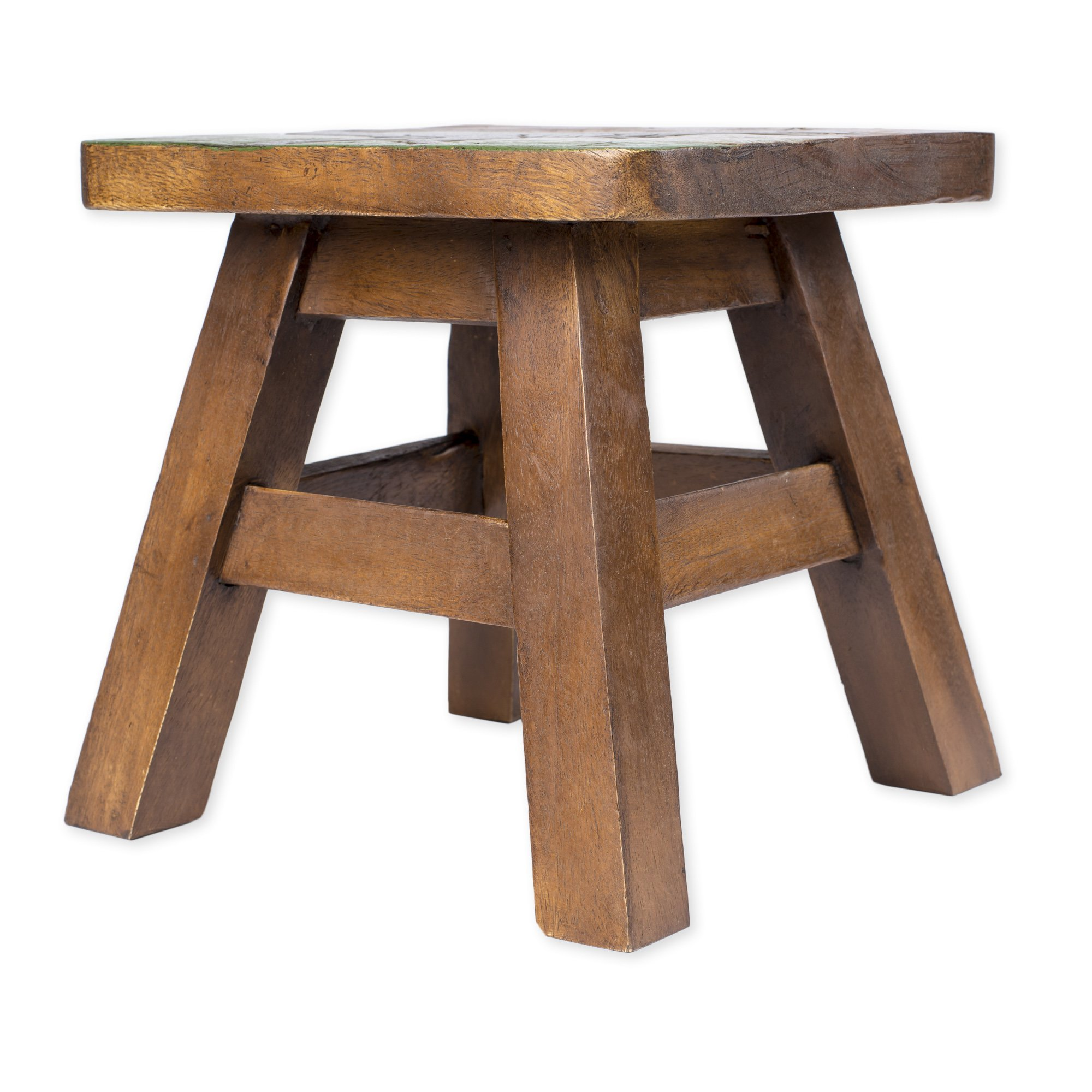 Tyrannosaurus Rex Dinosaur Design Hand Carved Acacia Hardwood Decorative Short Stool by Sea Island Imports (Image #3)