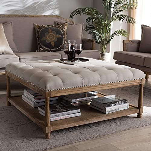 Baxton Studio Carlotta French Country Weathered Oak Beige Linen Square Coffee Table Ottoman French Country/Beige/Weathered Oak/Fabric Cotton 50 /