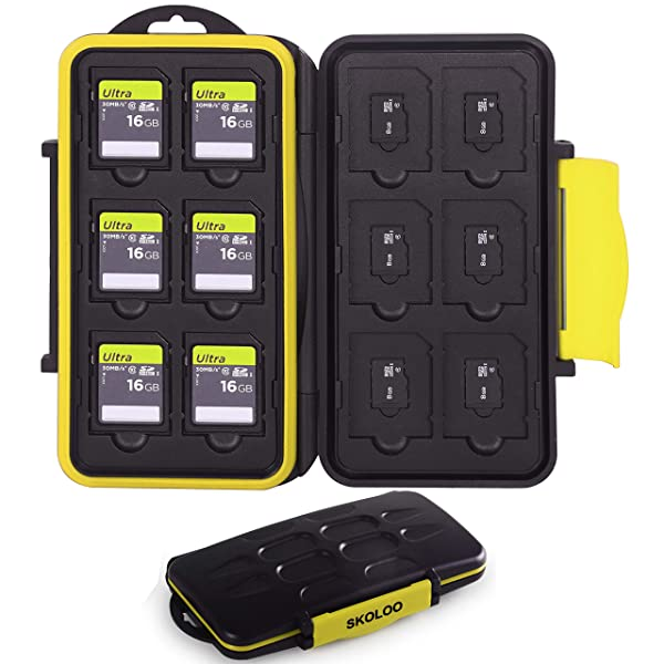 Skoloo SD Card Case, Waterproof Memory Card Holder, 12 SD Card Cases Storage + 12 Micro SD Card Holder for SDHC SDXC TF Card, 1 Pack Yellow (Color: yellow)