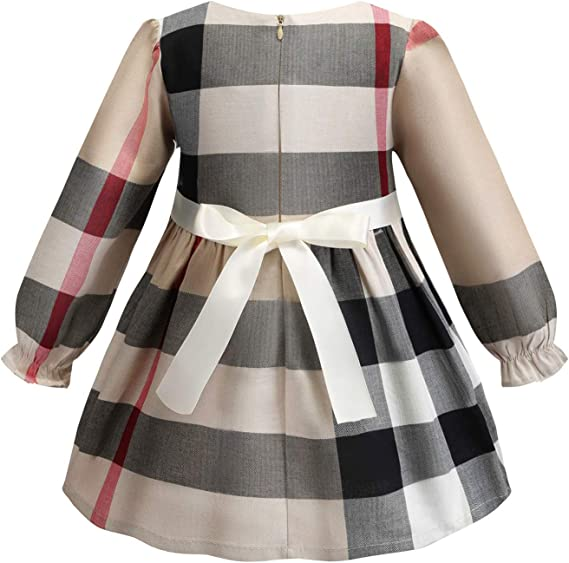 Aivdoirla Princess Dress Baby Girls Plaid Dress Long Sleeve Cute Party Playwear