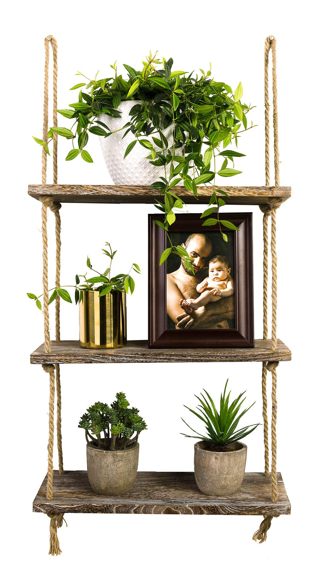 TIMEYARD Decorative Wall Hanging Shelf, 3 Tier Distressed Wood Jute Rope Floating Shelves, Rustic Home Wall Decor by TIMEYARD