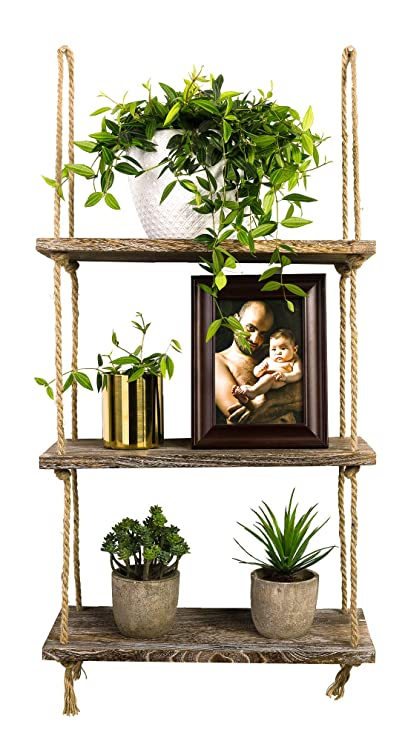 Amazon TIMEYARD Decorative Wall Hanging Shelf 3 Tier Distressed Wood Jute Rope Floating Shelves Rustic Home Decor Kitchen