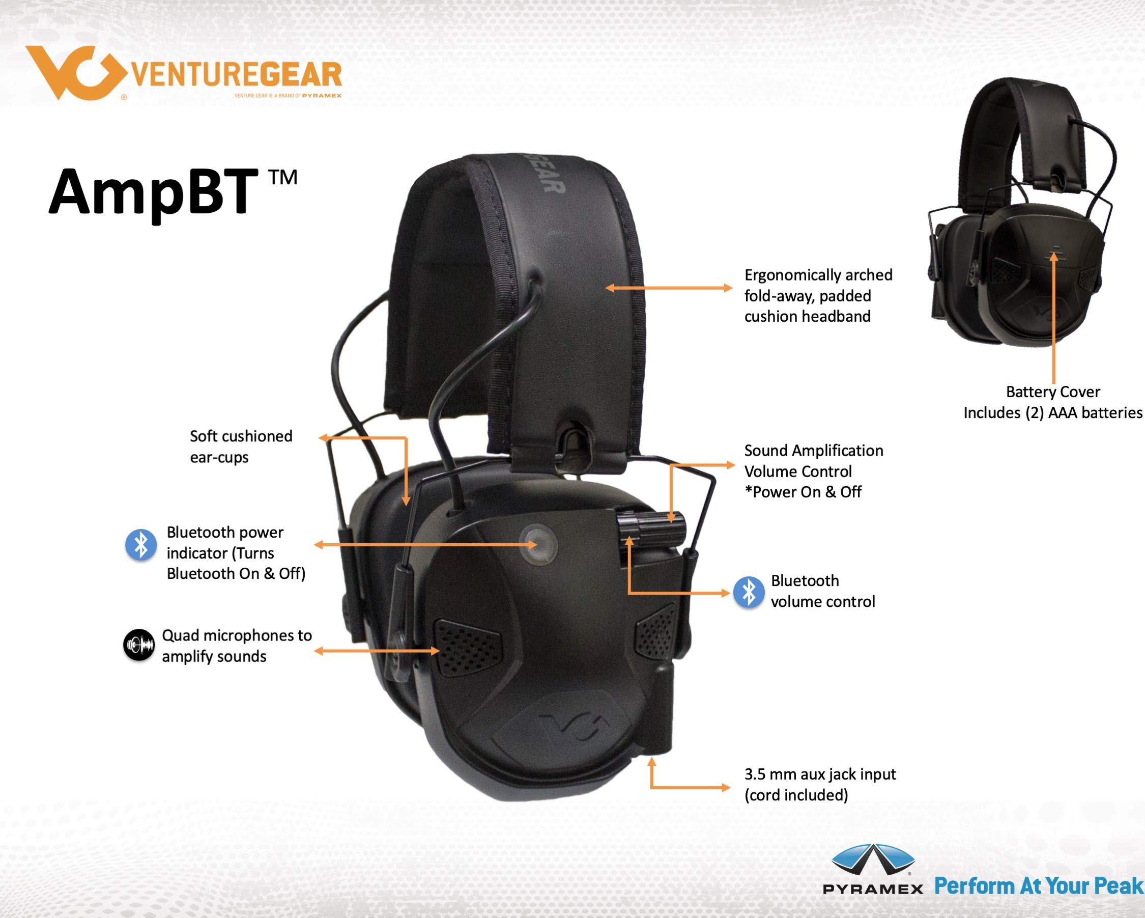 Venture Gear Amp BT Electronic Bluetooth Hearing Protection Earmuffs by Pyramex Safety (Image #5)