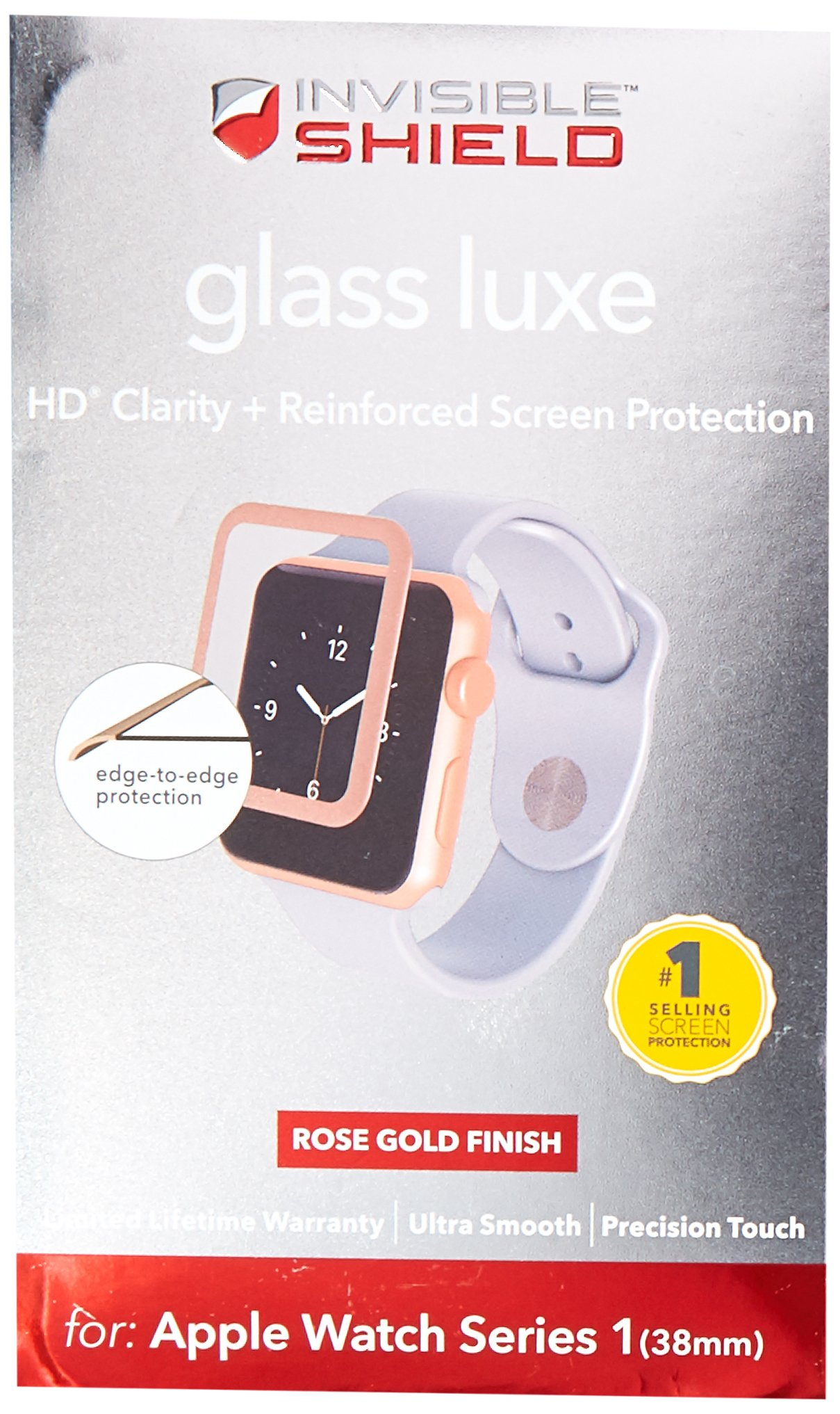 ZAGG InvisibleShield Luxe Screen Protector for Apple Watch Series 1 (38mm) - Rose Gold